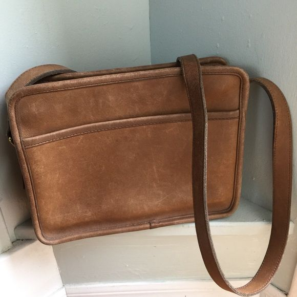 Vintage Coach Over the Shoulder Bag Soft Tan leather outside, suede 2 pocket interior. 2 outside pockets. I love this bag, one adjustable strap, and perfectly square. Definitely distressed, but not shabby distressed. Coach Bags Shoulder Bags
