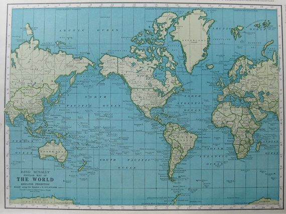 Map of The WORLD Map 1949 Gallery Wall Art 1940s World Map Library