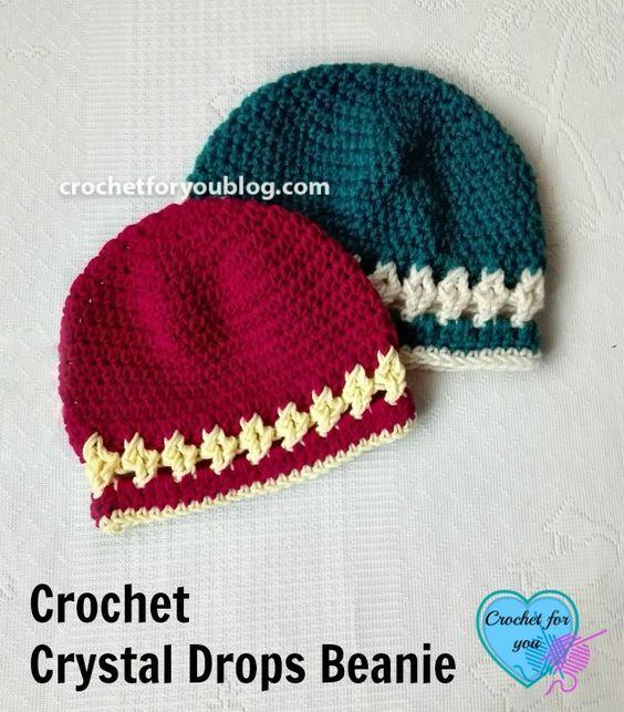 Crochet Crystal Drops Beanie - free pattern | Pinterest