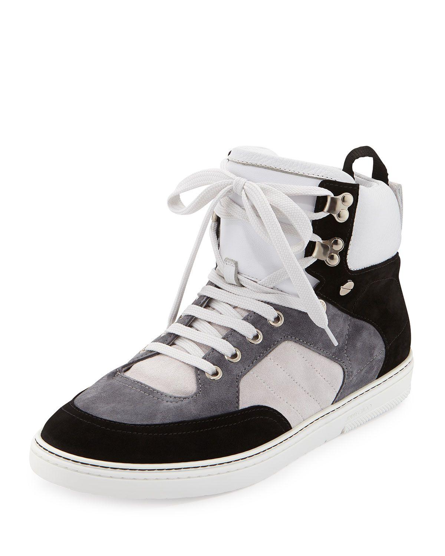 dafe5e0d984 Bradley Men's Colorblock High-Top Sneaker, Size: 41.5EU/8.5US, Black/Wht/Grey  - Jimmy Choo