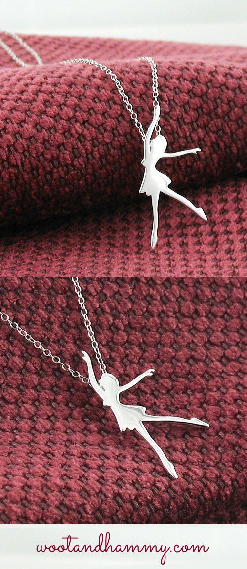 Graceful dancer necklace in sterling silver dance pinterest graceful dancer silhouette necklace in sterling silver mozeypictures Image collections