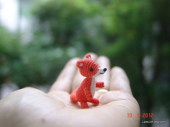 Miniature baby fox - Tiny amigurumi crochet animal. (Finished item for sale).