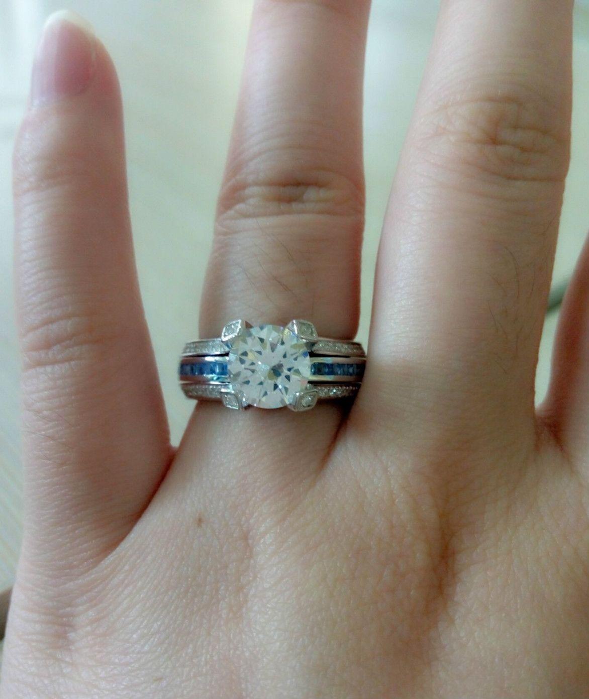 Interchangeable 20 CT Round Cut Created White Sapphire Wedding Set