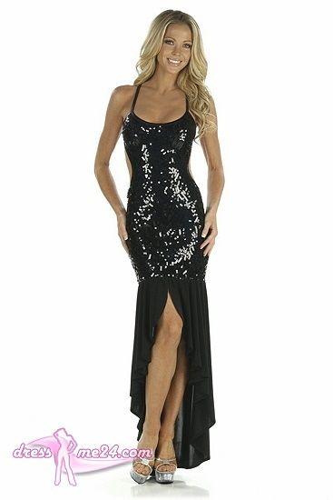 Besuche uns gern auch auf dressme24.com ;-) Abendkleid Lara - Elegantes Stretch Pailetten Mesh Abendkleid, welches sich raffiniert im Rücken binden läßt. Der Rockteil des Kleides ist aus Stretch Microfaser gefertigt. Sehr tiefer Rückenausschnitt und seitlich geschlitzt ... #Abendkleider, #Partykleider, #Paillettenkleider