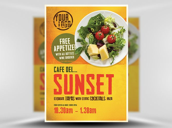Caf Sunset Poster Template 1 Polygraphy Pinterest Template