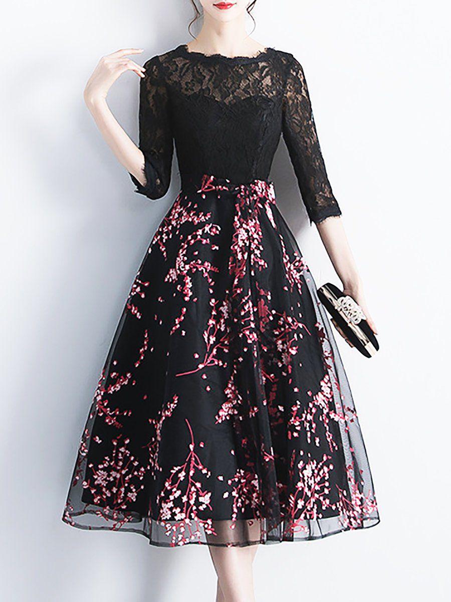 04c1b8bef7 Stylewe Plus Size Black-Red Midi Dress A-line Prom Dress Half Sleeve Elegant  Lace Paneled Floral Dress