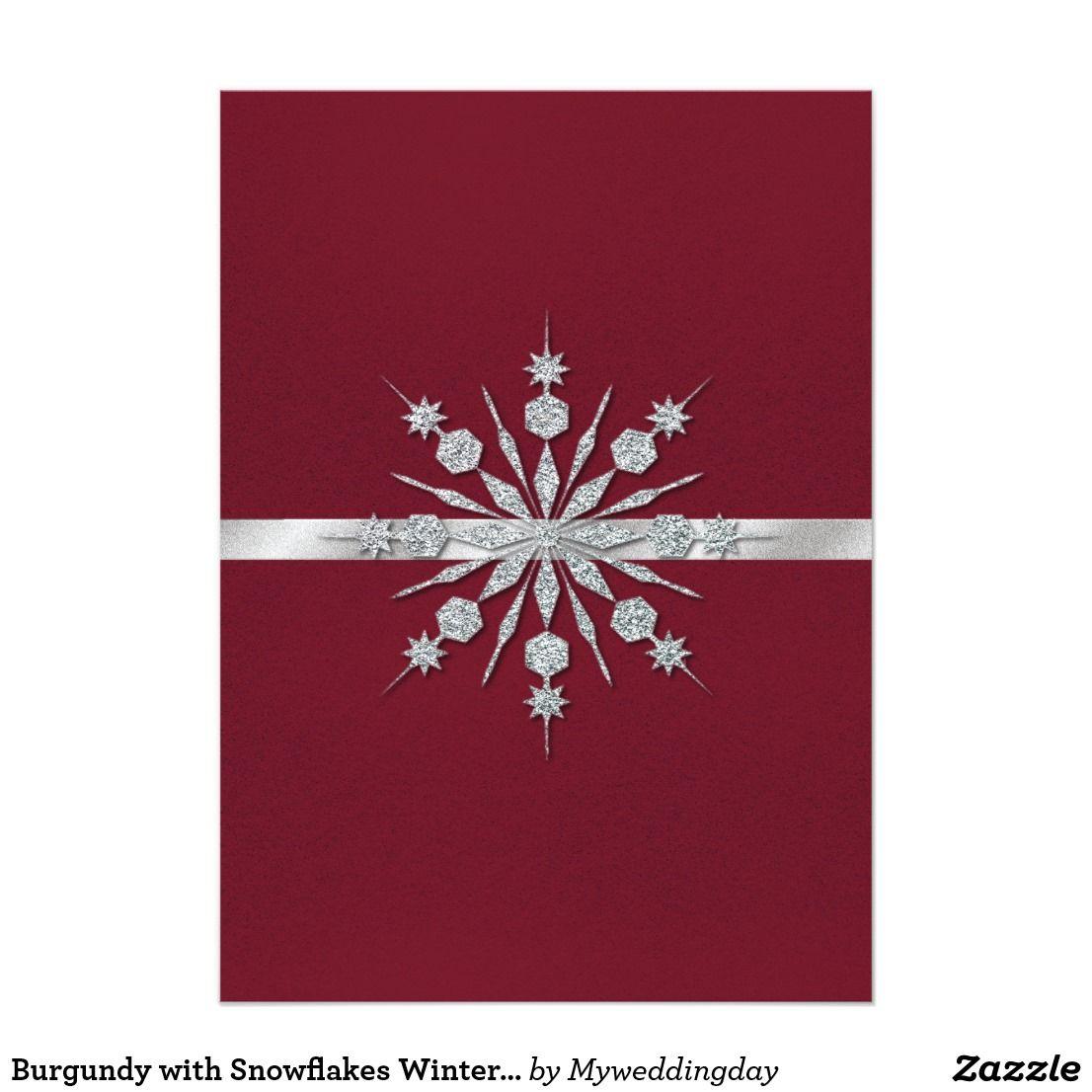 Burgundy with Snowflakes Winter Wedding Invitation | Rustic Wedding ...