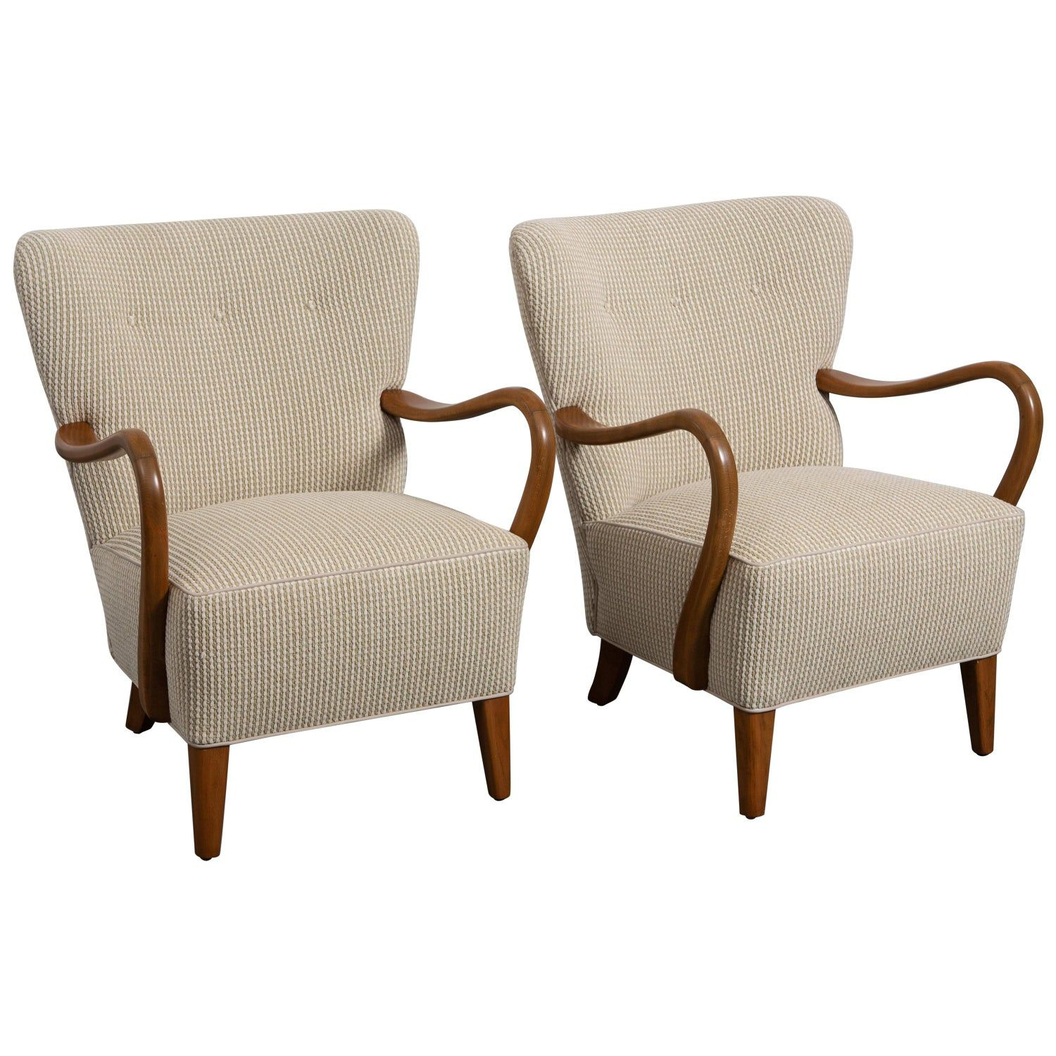 Pair of Midcentury Curved Wood Armchairs Wood arm chair