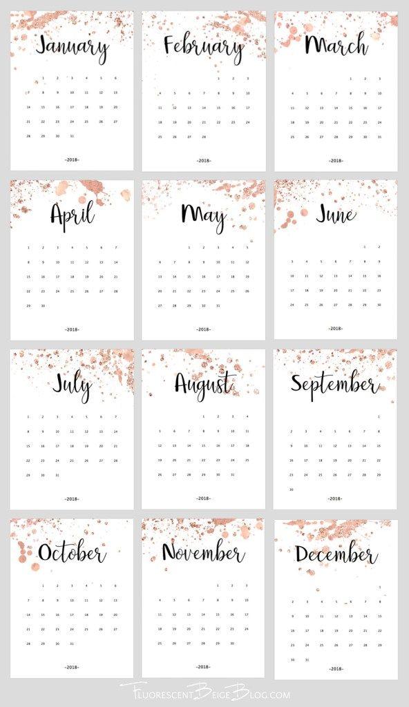 Free Printable 2018 Rose Gold Splatter Calendar Calendarios Imprimiveis Projeto Do Calendario Calendario Dezembro