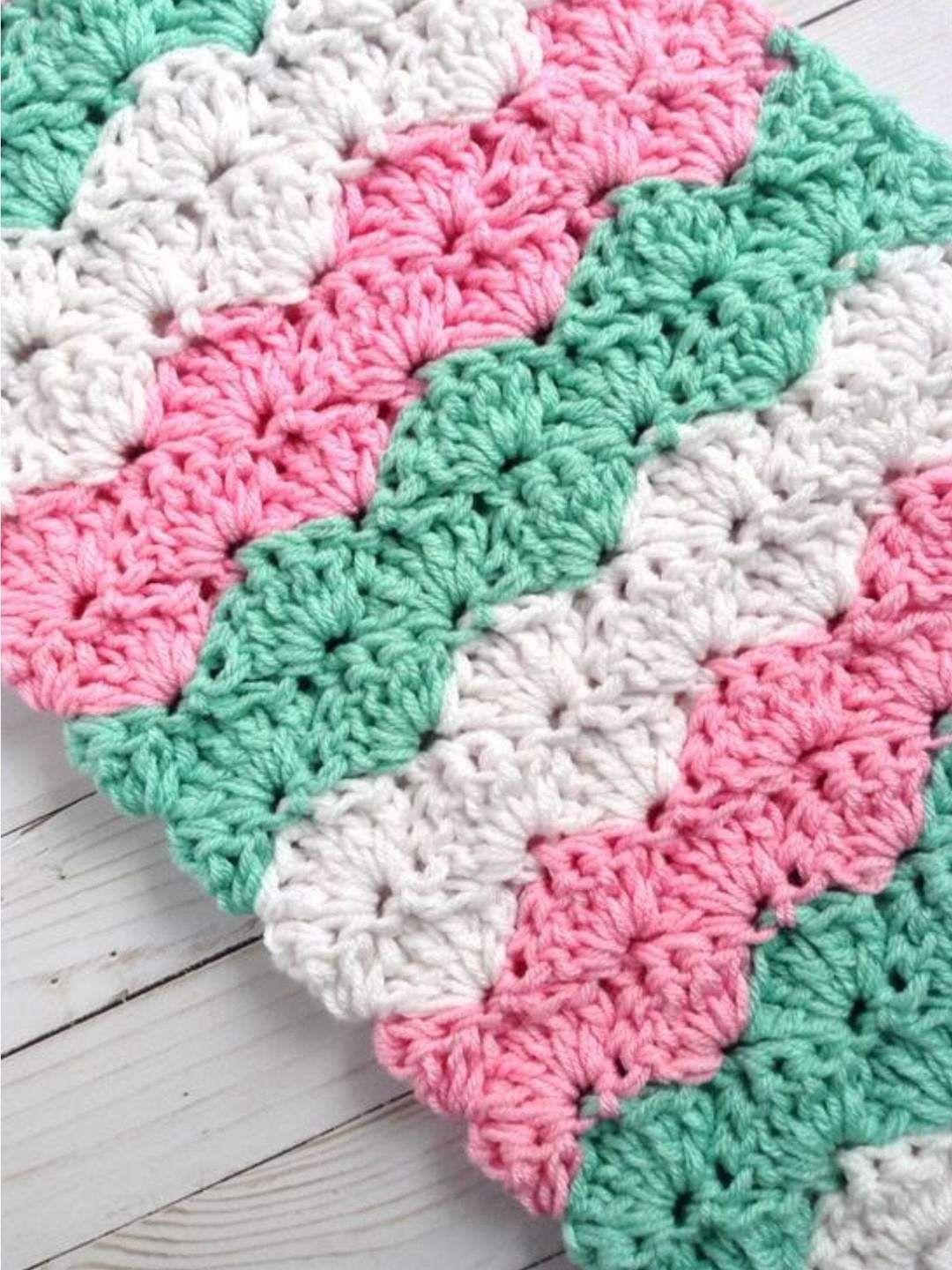 Photo of Baby Girl Crochet Blanket in Pink, Mint, and White Chunky Stripes