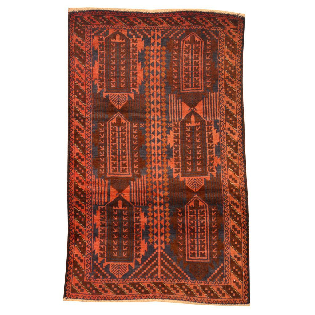 Herat Oriental Afghan Hand-knotted Tribal Balouchi Rust/ Navy Rug
