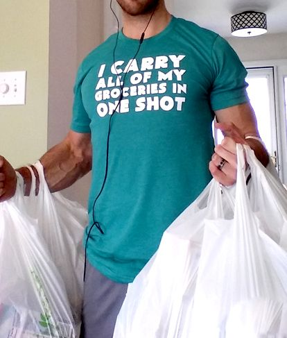 32b5ba29 I Carry All Of My Groceries In One Shot Shirt - Mens Workout Shirt Funny - Gym  Shirt For Men
