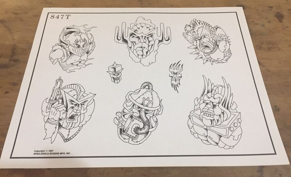 Vintage spaulding rogers tattoo design flash 1987 847t for Spaulding rogers tattoo