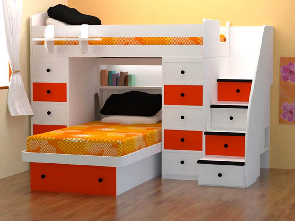Ikea space saver bunk beds with white and orange wood combine color with soft wall color lits - Furniture ideas small spaces model ...