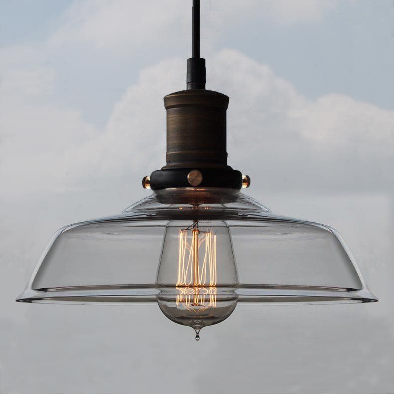 Retro industrial pendant light with glass shade glass shades retro industrial pendant light with glass shade mozeypictures Image collections