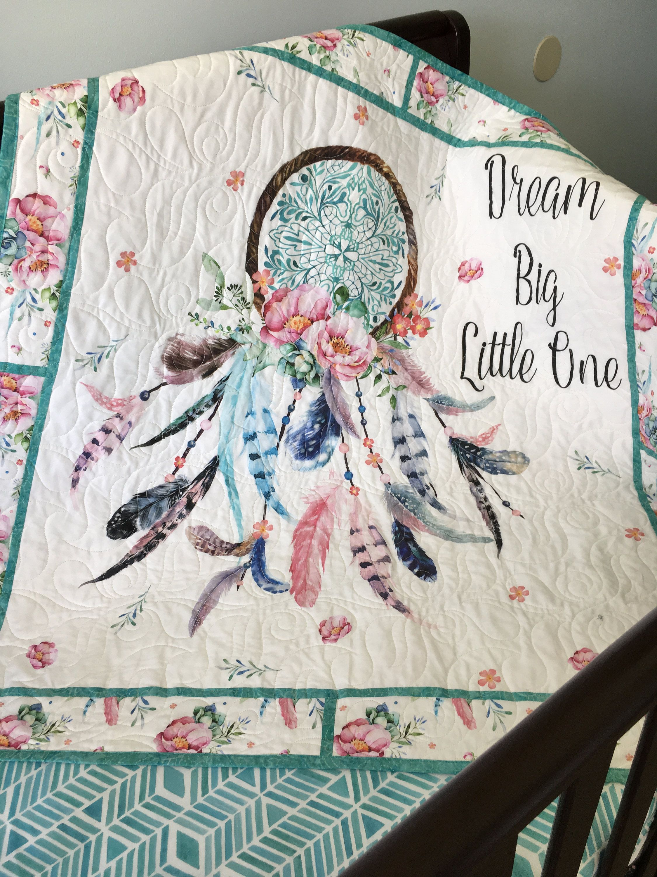 Dream Catcher Crib Bedding Best Dream Big Little One Dream Catcher Baby Girl Nursery Aqua Pink Decorating Design