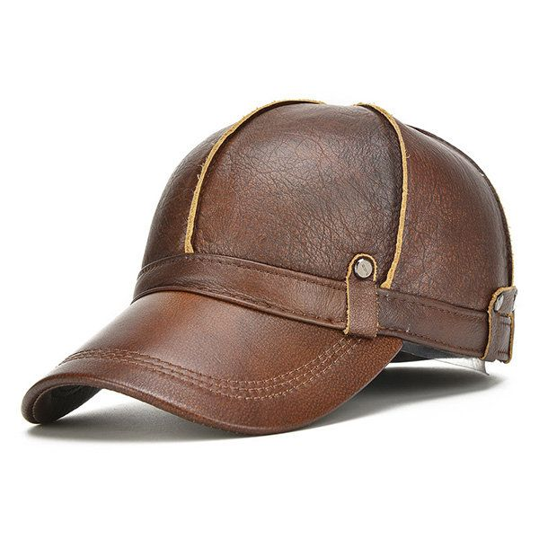 Men Genuine Leather Cowhide Baseball Cap With Ears Flaps Thick Winter Warm Flat  Hats Army Hats 96cbe1d94b0