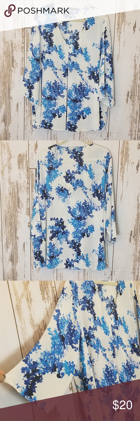 d182d31422314 🌺Sale  Rose   Olive White Blue V Neck Top Size 3X Rose   Olive Plus size  White   Blue V Neck Top. 3 4 Sleeves. Soft and Flowy. Gently used. Size 3X.