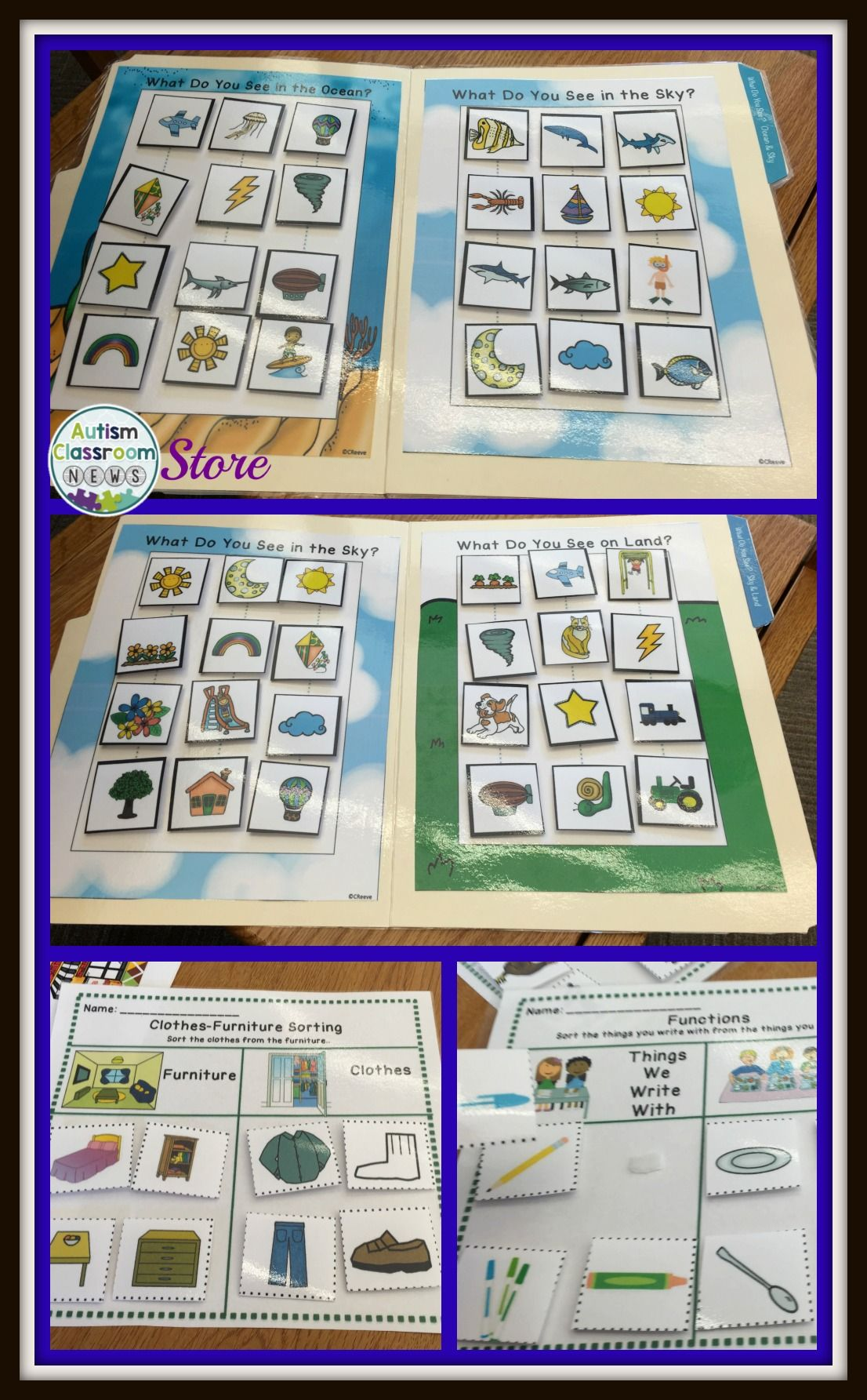 Receptive Vocabulary Sorting Autism File Folders And