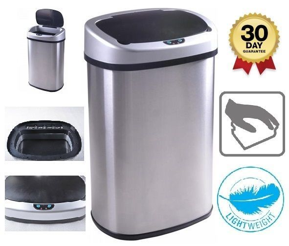 Superior Trash Can 13 Gallon Touch Free Sensor Automatic Stainless Steel Kitchen  Office