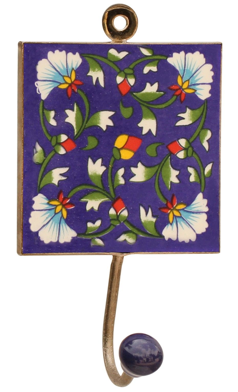 bluey splash handmade 62u201d ceramic wallhook with floral