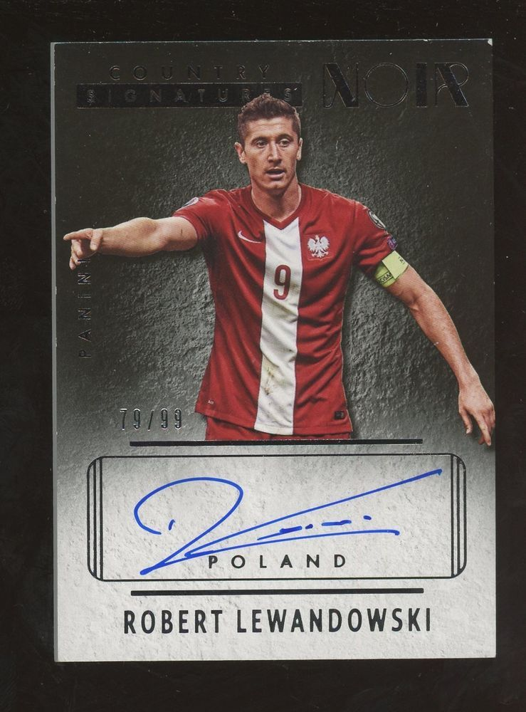 3acf77ef9e0 2016-17 Panini Noir Country Signatures Soccer Robert Lewandowski AUTO  99