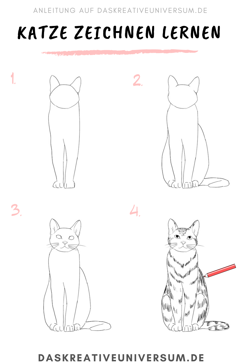 Learn To Draw A Cat Step By Step Instructions In This Step By Step You Will Learn How To Draw A Cat Informations Cat Drawing Tutorial Learn To Draw Drawings