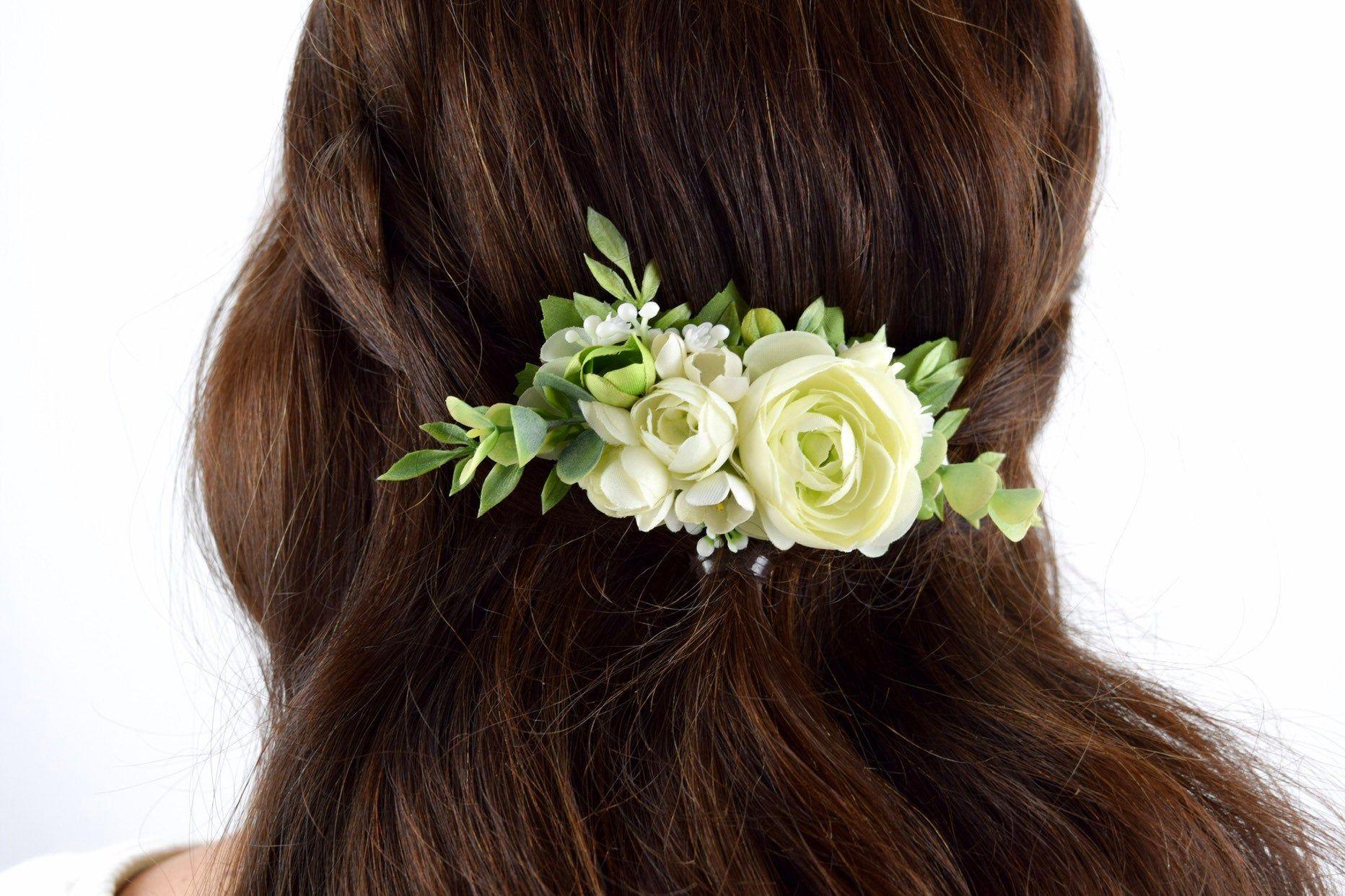 Eucalyptus Ivory flower comb Bridal hair accessories,Wedding flower comb,Bridal flower comb,Floral headpiece,Flower girl,Wedding hair piece