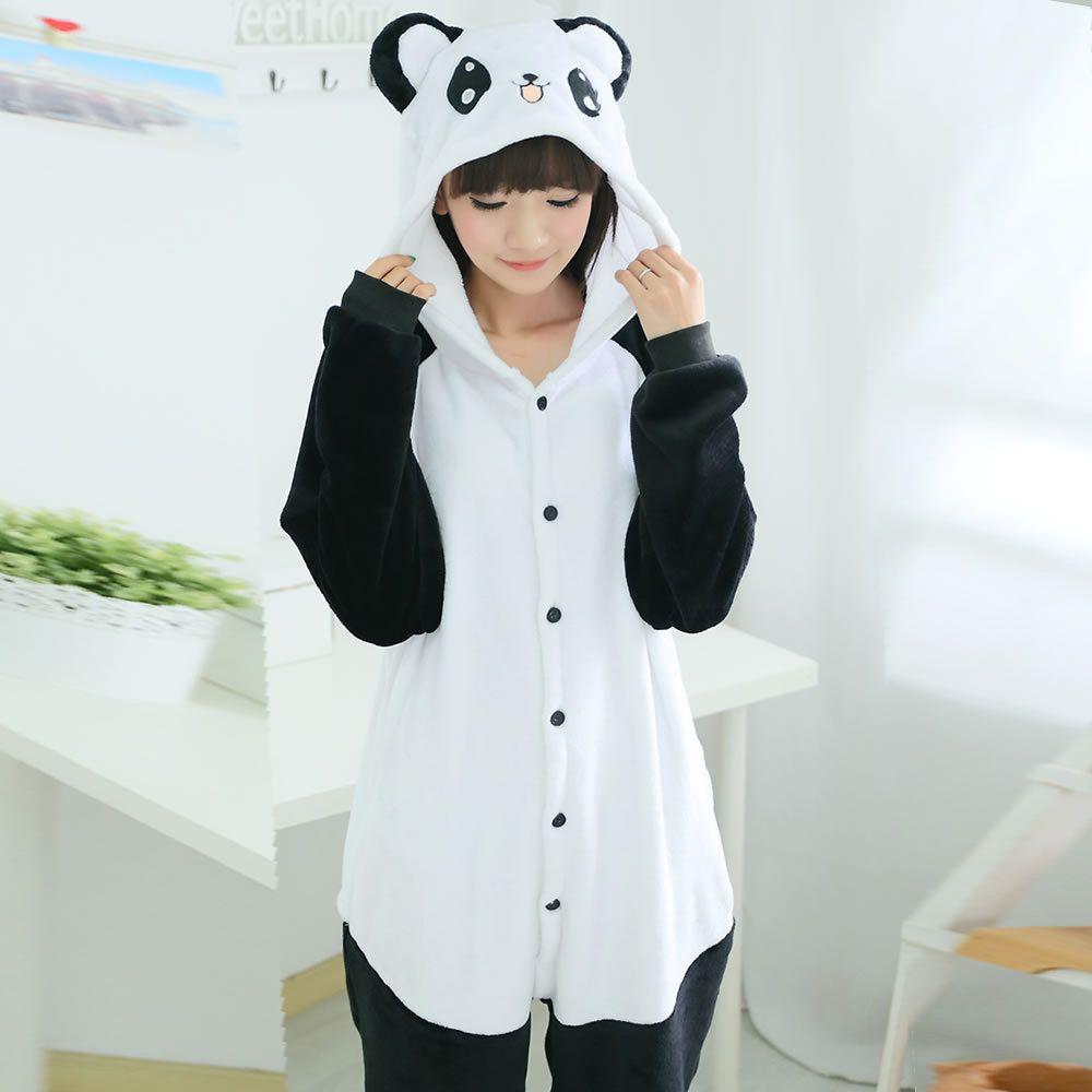 57265cf14e Pijamas Panda moda Animal camisón de franela pijamas pijamas pijamas Cosplay  adultos Onesies de Halloween mujeres pijama(China (Mainland))