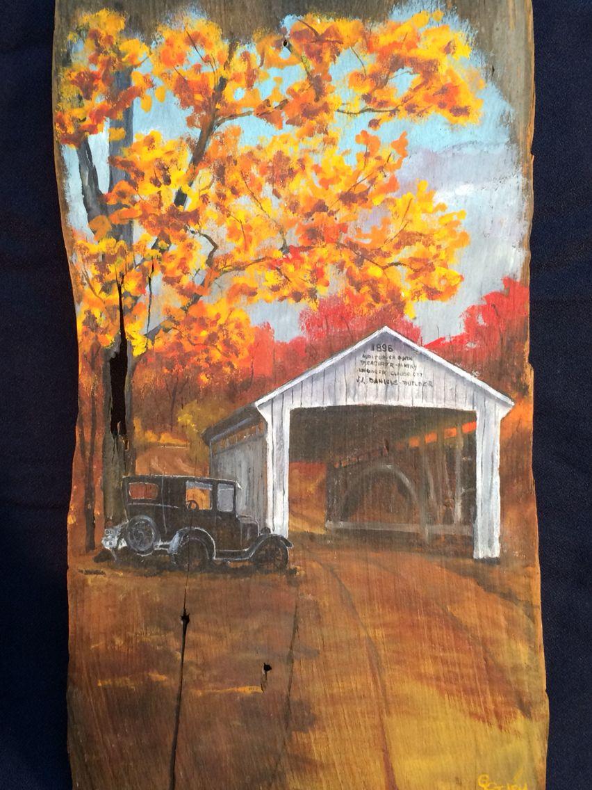 Best Tim Lizzie By The Bridge Oils On Old Barn Wood Shingle 640 x 480