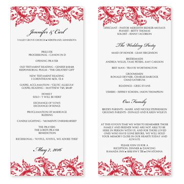 Diyweddingtemplates.Com - Wedding Program Templates | Venice Ruby