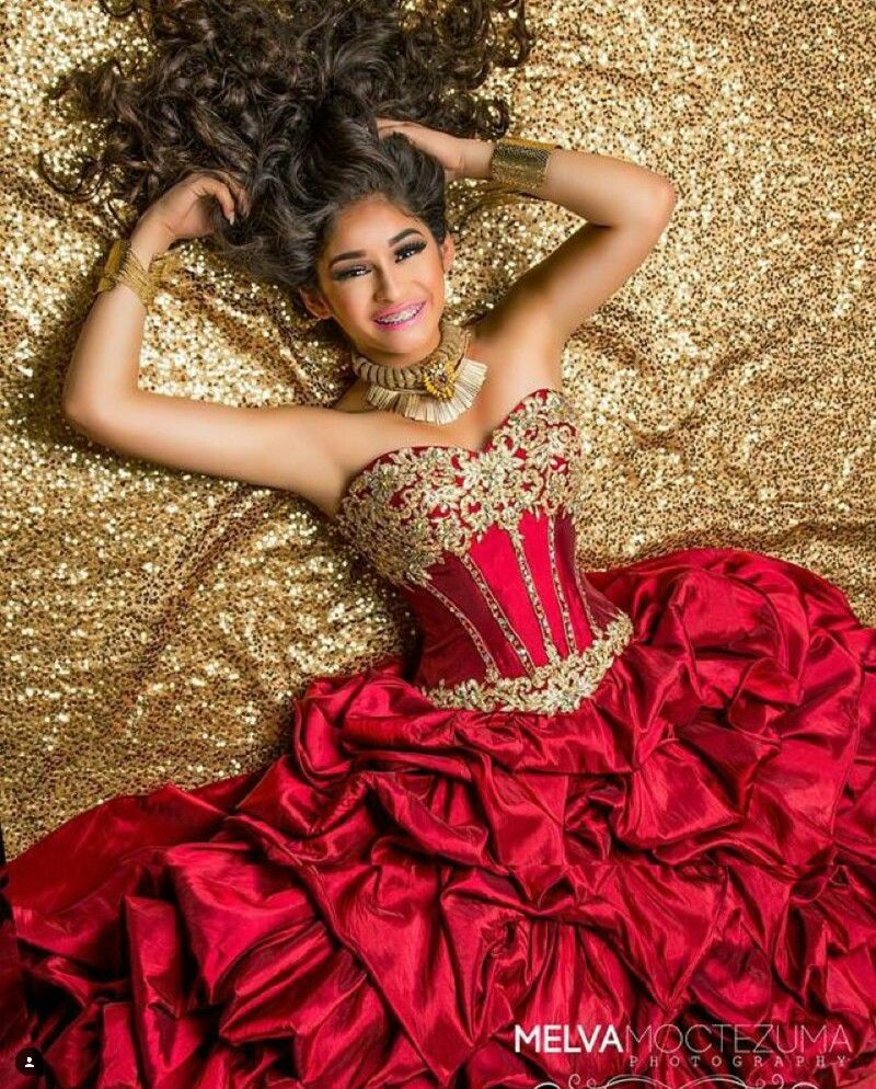 Quinceaera photography with red dress Quinceanera Dresses