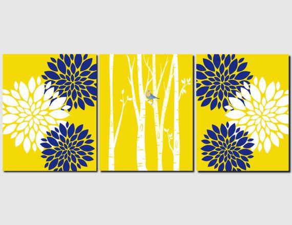 Navy Yellow White Wall Art Bedroom Wall Art Bathroom by vtdesigns ...