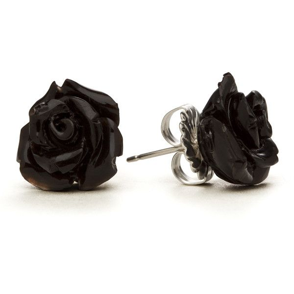 Black Rose Stud Earrings -