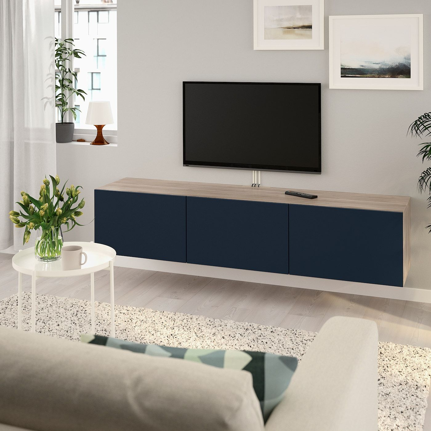 Tv Kast 70 Cm.Besta Tv Unit With Doors Walnut Effect Light Gray Notviken Blue