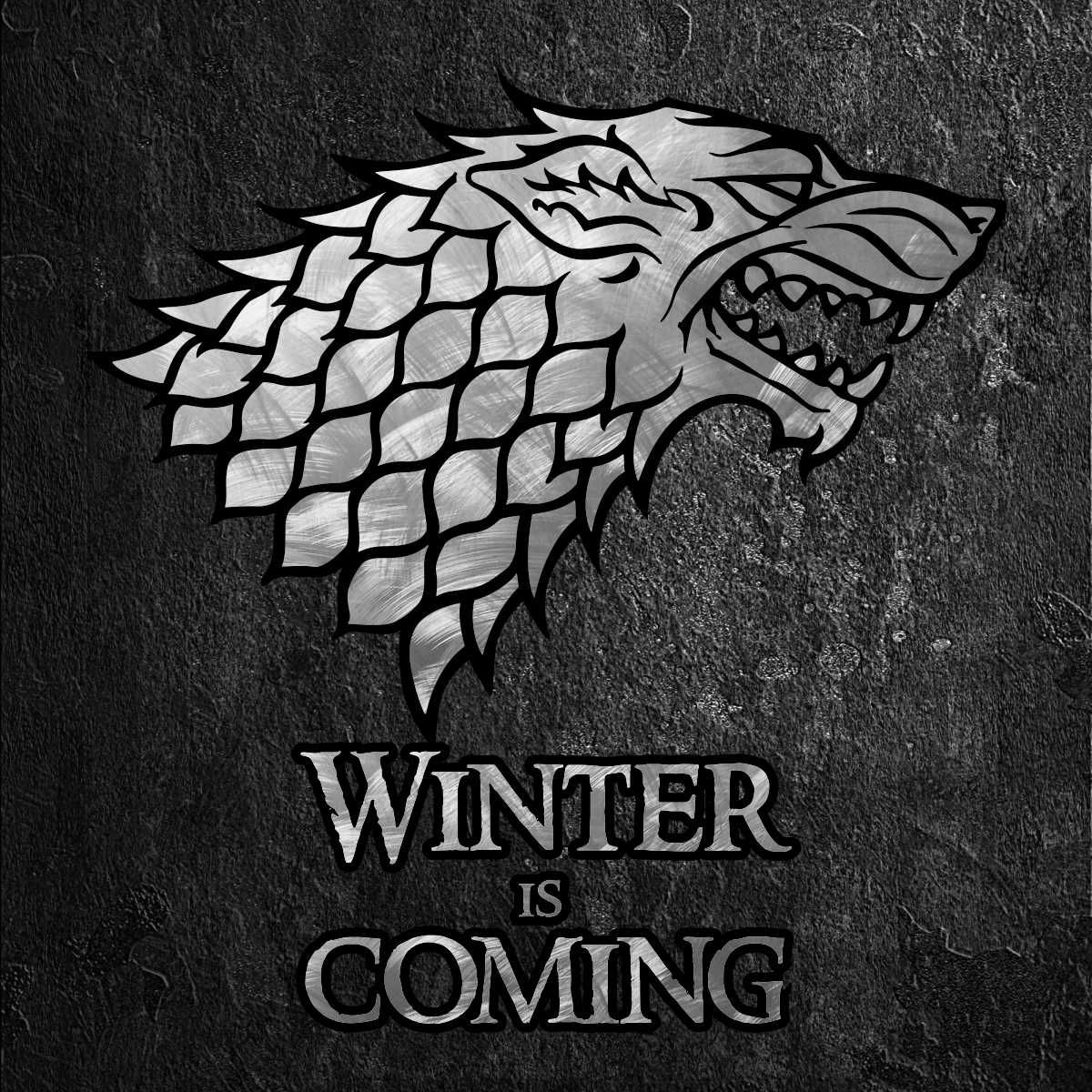 Game Of Thrones Winter Is Coming House Stark Sigil In Scratched Metal On Black Stone House Stark Sigil Stark Sigil Winter Is Coming