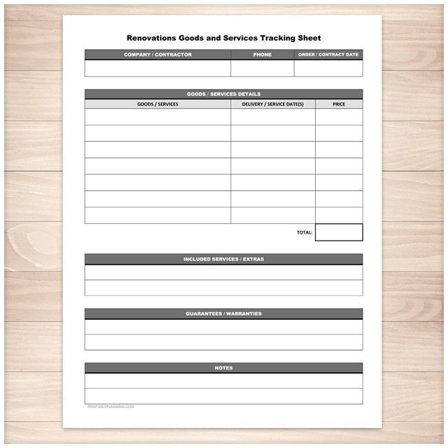 Renovations Goods and Services Tracking Sheet - Printable Home