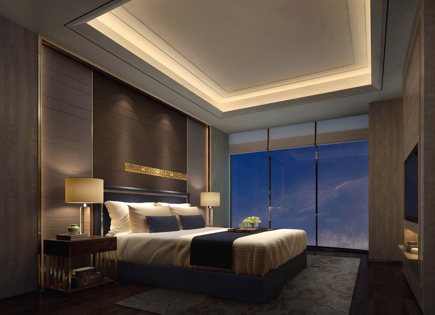 Recessed Master Bedroom Ceiling With Hidden Lights Remodel