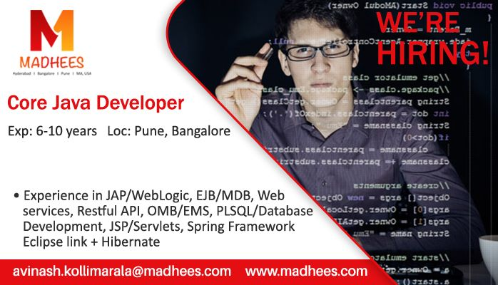 Job Requirement #CoreJavaDeveloper with 6-10 years experience in - web services resume