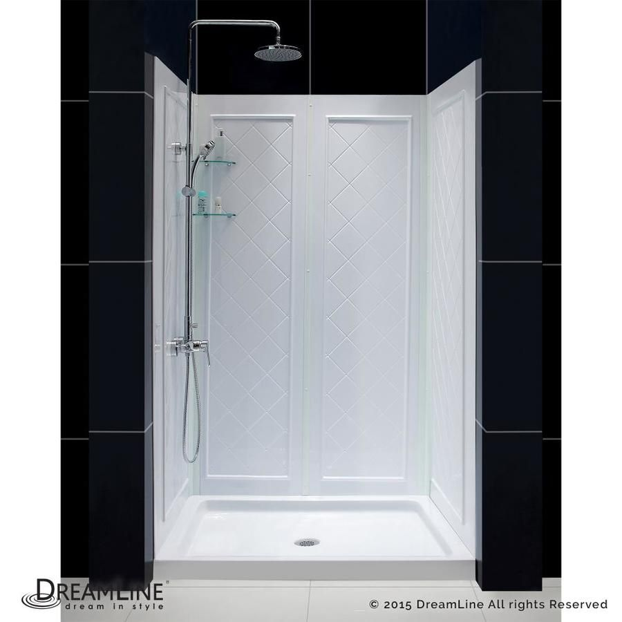 Dreamline Shower Base And Back Walls White 2-Piece Alcove Shower Kit ...