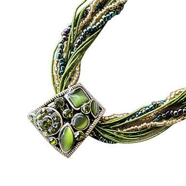 Photo of [$10.49] Mote bohemsk stil (trapesformet anheng) halskjede med grønt stofferklæring (1 stk)