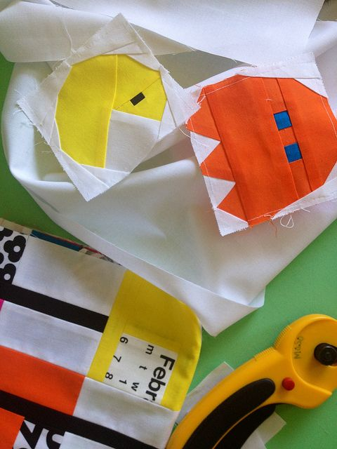 Pac Man quilt blocks!  How fun!