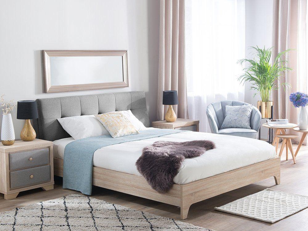 łóżko Tapicerowane Szarejasny Odcień Drewna 160 X 200 Cm