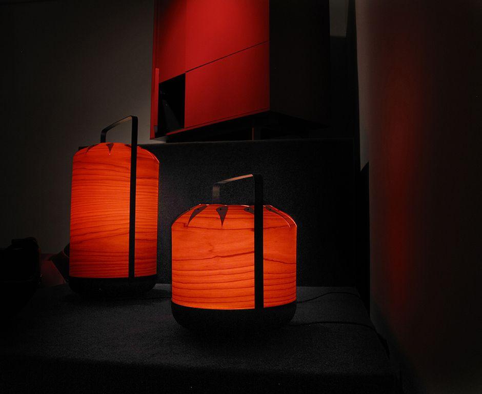 LZF Lamps at the Rojo exhibition at Sala Vinçon, Barcelona. #WoodLightning #WoodLamps #WoodVeneer