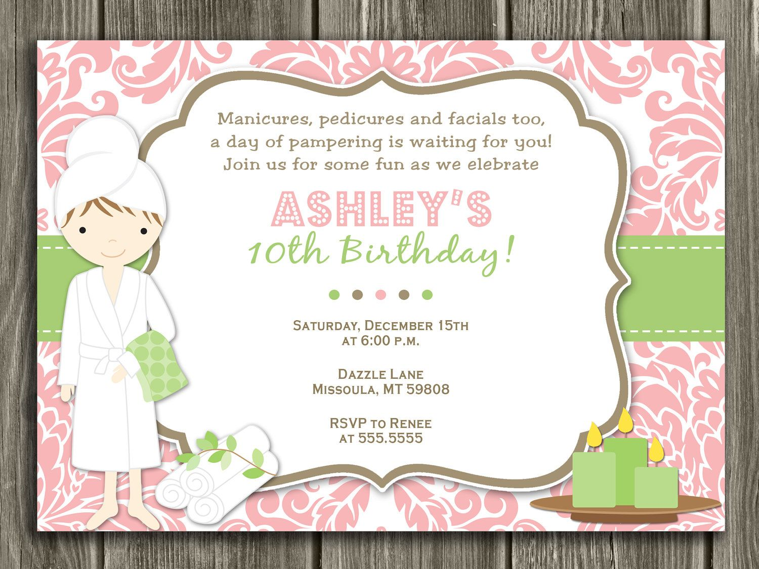 Spa Party Birthday Invitation - FREE thank you card included ...
