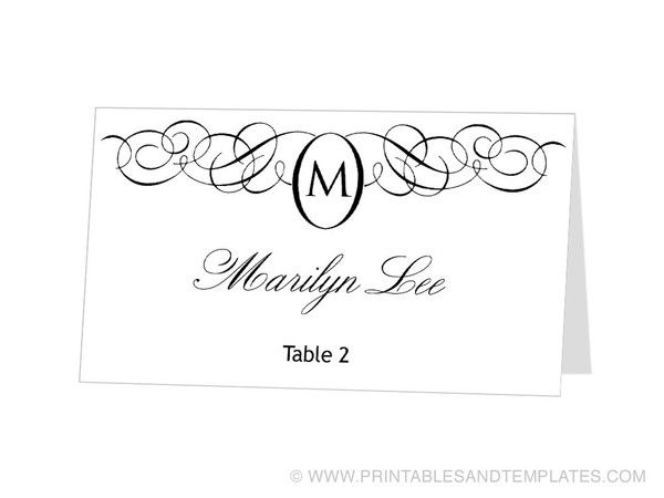 Monogram Place Card Template Instant Download $995 Place Card