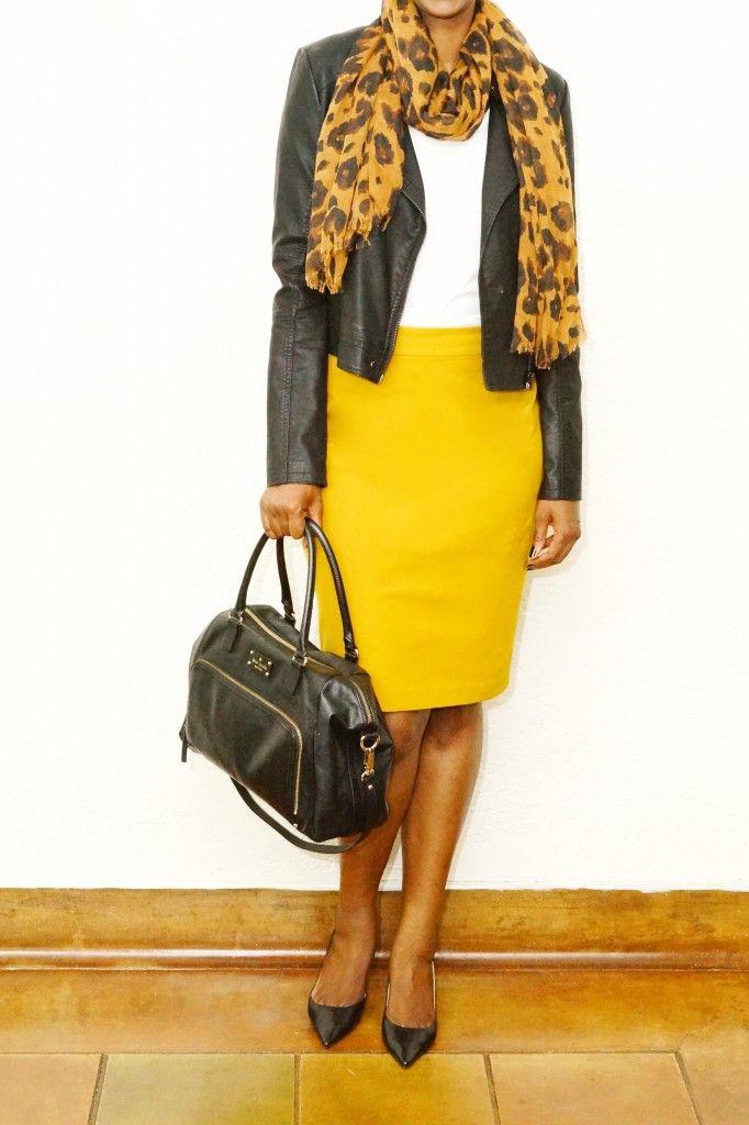 How to Wear a Mustard Yellow Pencil Skirt - White Tee - Leopard Print Scarf - Black Bag - Black Heels