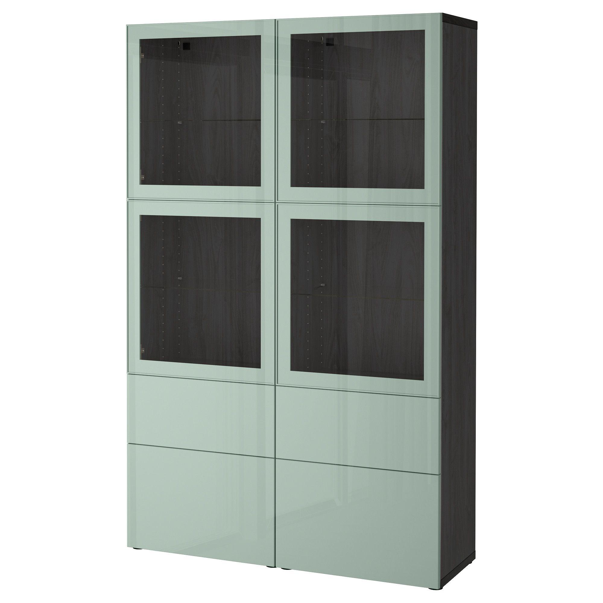 Best Storage Combination Wglass Doors Black Brown Selsviken High