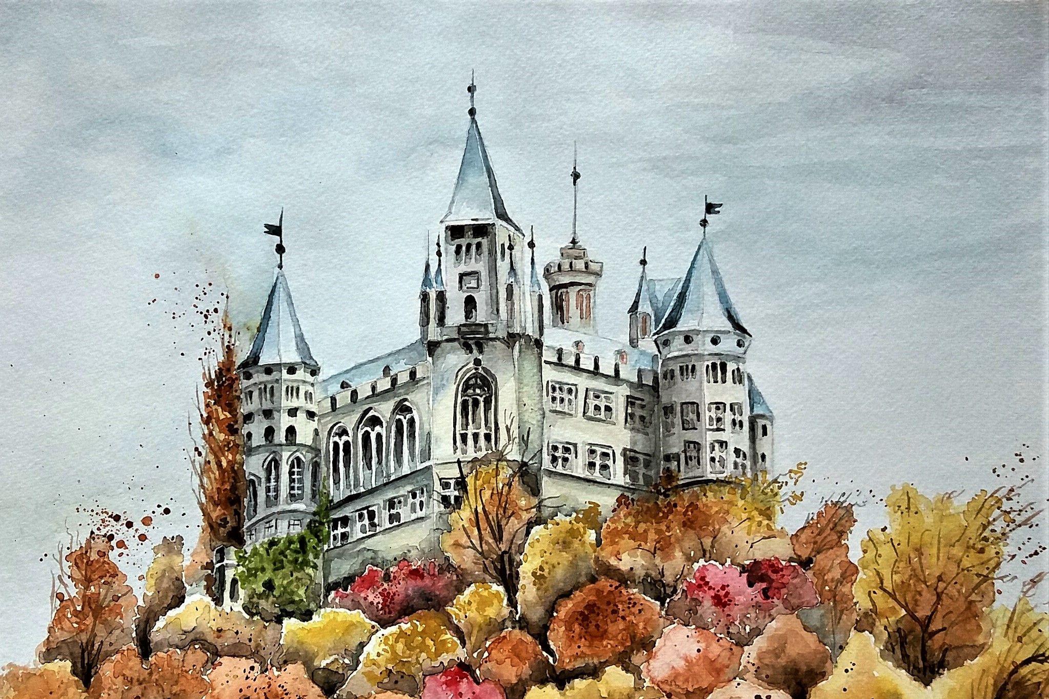 Burg Hohenzollern Aquarell Zeichnungen Aquarell Burg