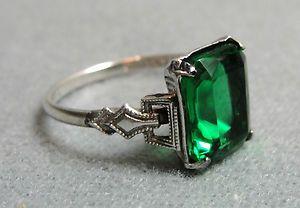 18K Oro Blanco Piedra Verde Esmeralda Y Diamante Pendientes con Pasador 270